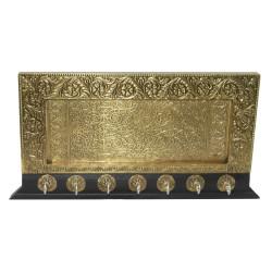 Wooden Emboss Brass Design 7 Hook Key Holder Key Hanger