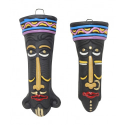 Home Decorative Tribal Design Terracotta Mask Pair