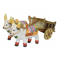 Decorative Bullock Cart Showpiece Ceramic Bulls and Wooden Cart