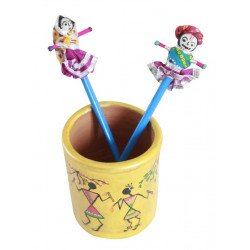 Ethnic Warli Art Terracotta Pen Holder With Wooden Rajasthani Puppet Top Pencil