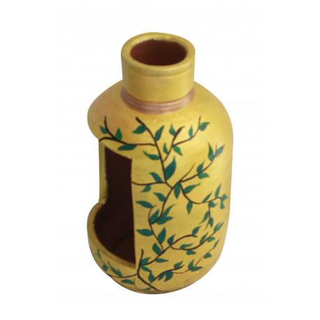 Hand Painted Terracotta Bottle Shape Planter
