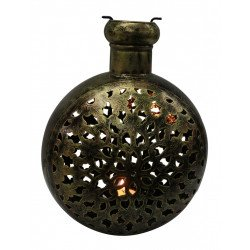 Round Shape Wrought Iron Ethnic Tealight Holder Copper Finish Cutwork Tealight Candle Holder