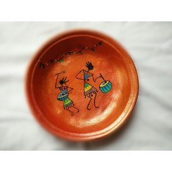 Handcrafted Terracotta Warli Art Painted Round Serving Tray/ Platter Terracotta Tray