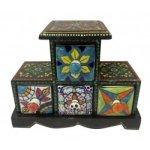 Four Drawer Wooden Box With Ceramic Drawer/ Jewellery Box/ Spice Box/ Storage Box
