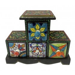 Four Drawer Wooden Box With Ceramic Drawer/ Jewellery Box/ Spice Box/ Storage Box