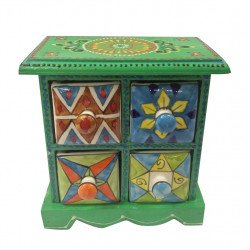 4 Drawer Wooden Box With Ceramic Drawer Square Box/ Spice Box/ Jewelry Box