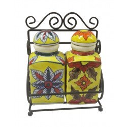 Ceramic Handpainted Set Of Two Storage Bottle With Iron Rack/ Ceramic Storage Bottle