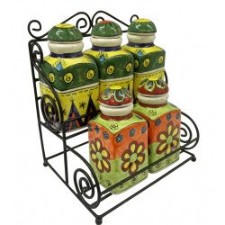 Colourful Handpainted Ceramic Storage Jar/ Bottle/ Spice Storage Jar/ Ceramic Spice Jar