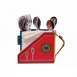 Multicoloured Warli Painted Wooden Cutlery Holder with Dhokra Lady Handle