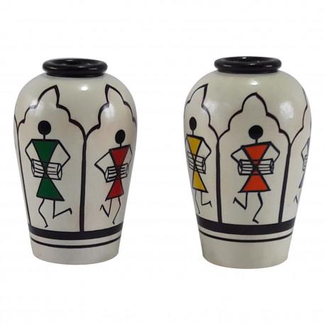 Set of Two Wooden Warli Art Pot Decorative Pot Channapatna Craft ToothPick Holder