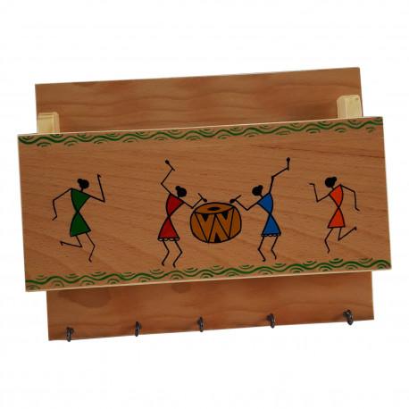 Wooden Warli Handpainted Key holder / Letter Holder 5 HooksWarli Art Wall Decor