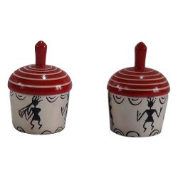 Wooden Warli Art Painted Set Of Two Kumkum Tika Roli Box/ Decorative Box
