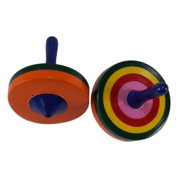 Set Of Two Round Handpainted Wooden Channapatna Spinning Top Lattoo