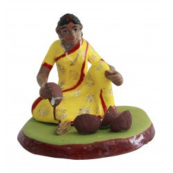 Miniature Terracotta Clay Lady Coconut Vendor Decorative Doll Figurine Clay Doll Indian Doll