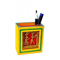 Wooden Handpainted Dhokra Art Pen/Pencil Holder Desk Accessory
