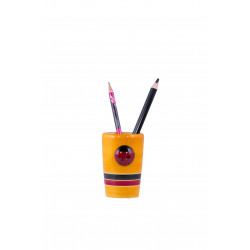 Wooden Lacquered Finish Painted Pen Holder