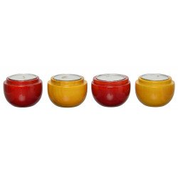 Wooden Channapatna Craft Set Of Four Diya Tealight Holder