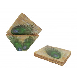 Set Of Six Wooden Coaster With Mother Of Pearl Inlay Work