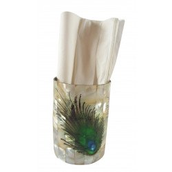 Handcrafted Mother Of Pearl Inlay Stainless Steel Tissue Holder With Peacock Feather Print