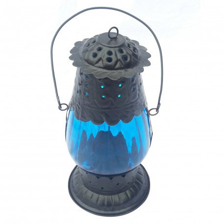 Traditional Lantern Shape Hanging Tealight Candle Holder Glass and Iron