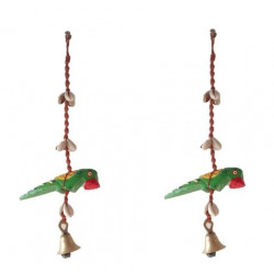 Decorative Handcrafted Parrot With Shells and Brass Bell Door Hanging Pair/ Door Hanging
