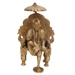 Brass Sitting Sai Baba Idol With Chatri