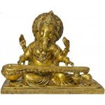 Brass Handcrafted Decorative Ganesha With Veena Sitar 25.4 cm