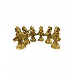 Brass Set of Six Musical Ganesha Idols