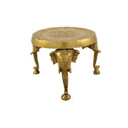 Brass Round Chowki Elephant Head Leg