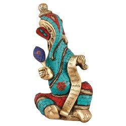 Brass and Coral Stone Writing Ganesha Idol Ganesh Ganpati Ganesh