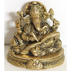 Brass Writing Ganesha Idol