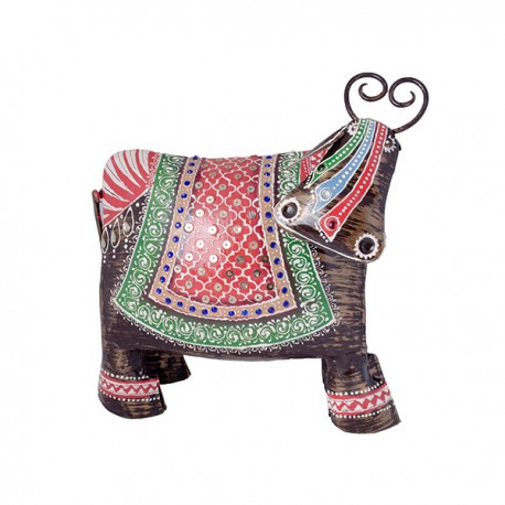 Ethnic Metal Cow Showpiece
