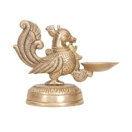 Brass peacock deepak diya oil lamp