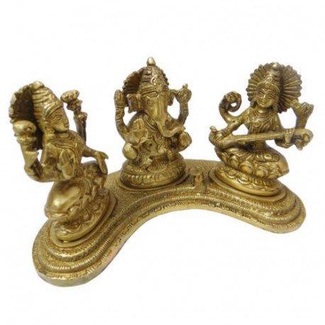 Brass Lakshmi Ganesh Saraswati Idol Set