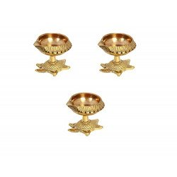 Brass Kuber Tortoise Diya Set of Three