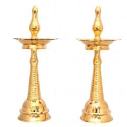"""Brass Kerala Deepa Diya Pair 12 """" (31 cm)"""