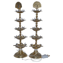 Peacock Shape Five Step Electric Brass Diya (Pair, 13 Inch)
