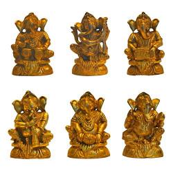 Set of Six Brass Musical Ganesha Figurine Idol Statue Ganpati