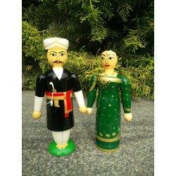 Wooden Channapatna Doll Kodava Couple/ Coorgi Couple Doll