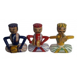 Decorative Wooden Hand Painted Channapatna Musical Doll Set Wooden Musician Set Channapatna Doll