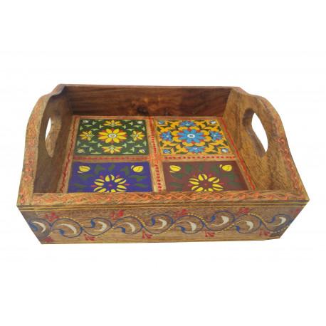 Wooden Square Blue Ceramic Tile Serving Tray