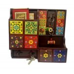Colourful Handcrafted Wooden Key Holder With Letter Holder