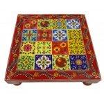"Decorative Wooden Handpainted Square Pooja Chowki 10""x10"""