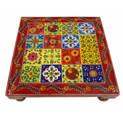 "Decorative Wooden Handpainted Square Pooja Chowki 10""x10"""