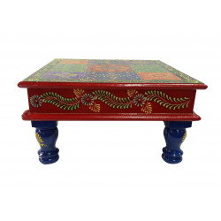 Wooden Handpainted Colourful Embossed Pooja Chowki Puja Chowki Multipurpose Stool Bajot