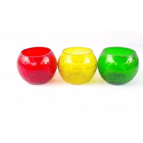 Decorative Round Glass Tea Light Candle Holder Set/ Diwali Tea Light Holder