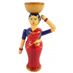 Wooden Lady With Basket Doll Dryfruit Bowl/ Mukhwas Bowl/ Diwali Dryfruit Bowl Showpiece/ Channapatna Wooden Doll