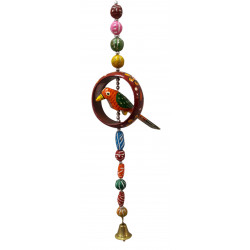 Wooden Colourful Parrot With Ornaments Door Hanging/ Traditional Wall Hanging/door hangings decoration
