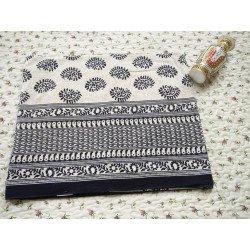Bagru Block Printed Black Cotton Queen Size Bedsheet