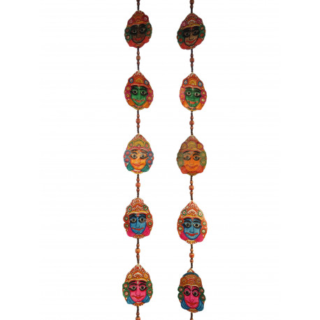 The Ethnic Story Leather Puppetry Yakshagana Face Door Hanging (Pair)